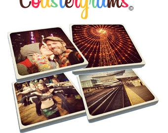 Set of 4 of any of your Instagram photos on tumbled porcelain Stone Drink Coasters. Super high quality!