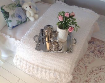 Hand knitted dollhouse throw rug