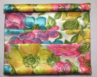 Vintage 60s Satin Floral Travel Cosmetics Case | 1960s Pink Yellow Green and Blue Travel Toiletries Case |  Satin Stationery Case