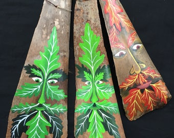 Green Man Painted Palm Fronds