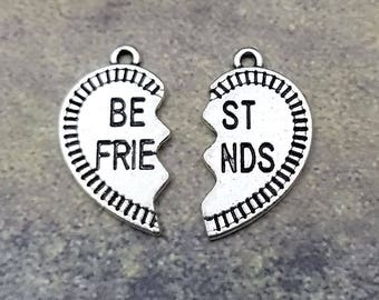 2 Sets of Best Friend Pendants Set Silver Tone Metal 25MM charm