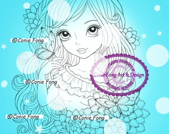 SALE Digital Stamp, Digi Stamp, digistamp, Delilah by Conie Fong, Coloring Page, birthday, girl, flower, butterfly, dahlia