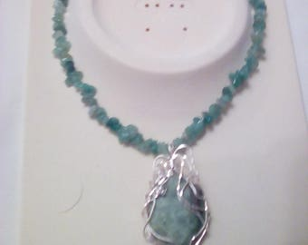 African Jade Wirewrapped Pendant