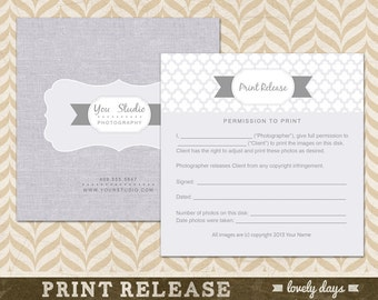 Print Release Card Template for Photographers INSTANT DOWNLOAD