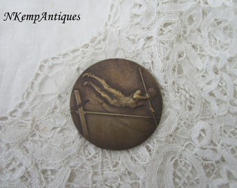 Antique pole vaulting medal for the collector signed Henry Dropsy