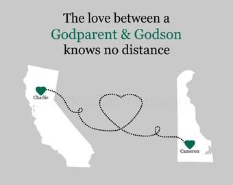 Godparent & Godson States Map- gift from godson, gift from godparent, goddaughter gift, gift for baptism, christening gift, moving away