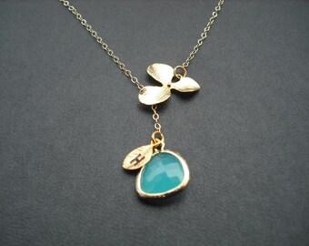 bridesmaids gift, Wedding gift, personalized - orchid lariat - aqua blue bezel
