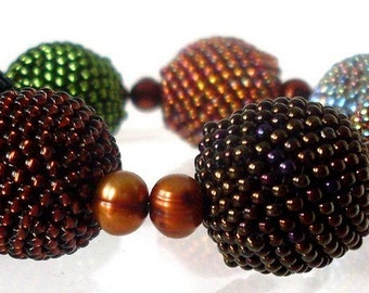 Bold ball bracelet forrest colors OOAK