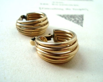 Vintage 12K Gold Filled Clip On Earrings Modern Mod Style Gifts Under 30 Gifts For Her Golden Earrings Retro Preppy Jewelry