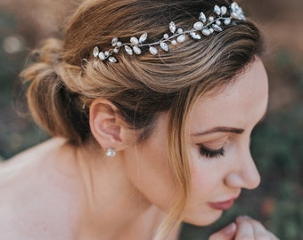 """Wedding Hair Accessories, Bridal Hair Vine, Bridal Headpiece ~ """"Gwen"""" Wedding Hair Vine (Silver, Silver with Opal, Gold or Rose Gold)"""