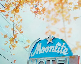 Retro Motel Sign Photograph, Moonlite Motel Niagara Falls Wall Art, Funky Motel, Pale Blue Yellow Orange Print 8x8