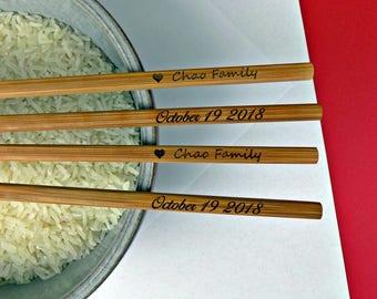 Free shipping! Engraved 100pr Chopsticks, Chop stick, Bamboo Chopstick, Wedding Favors, Rustic Chopstick, Wedding Chopsticks, Wedding favor