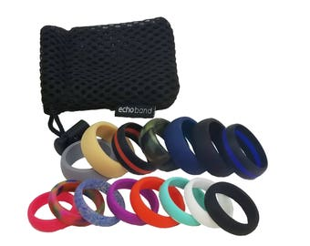 His & Hers 15 Ring Mega Pack Silicone Ring -Safe-Free Shipping-Lifetime Guarantee-Medical Grade Silicone- Wedding-Active Wear