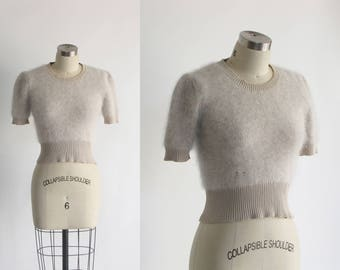vintage crop fuzzy angora lambswool sweater / cropped pastel grey lambswool fluffy fur top / 50s 1950s style pin up sweater