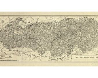 Map Of Great Smoky Mountains National Park; Antique Map, 1935