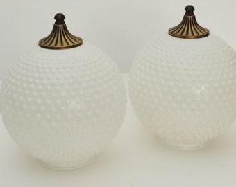 Pair LARGE Hobnail White Milk Glass Lamp Shade Globes w/ Finials-GWTW Globes-Vtg
