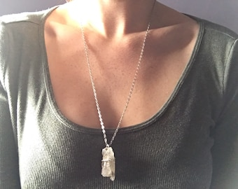 Raw clear pnw quartz crystal pendant
