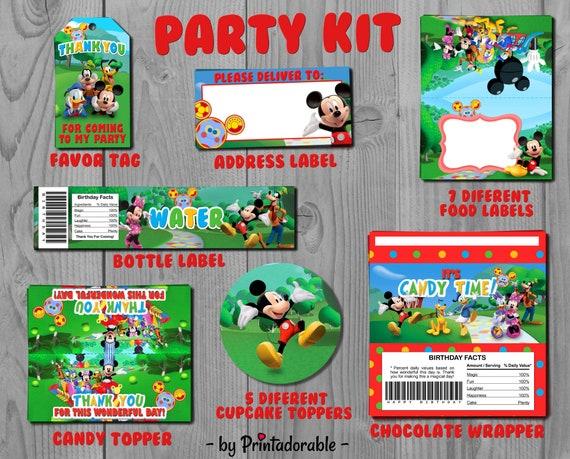 Mickey Party Set - Mickey Party Kit - Mickey Favor Tags - Mickey Label - Disney Party Kit - Disney Party Set - Minnie Party Set - Mickey Kit