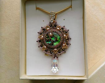 Beaded Floral Mother of Pearl Pendant, Genuine Pearls, Statement Pendant, Gold Filled Chain - Abalone Paua Jewel by enchantedbeads on Etsy