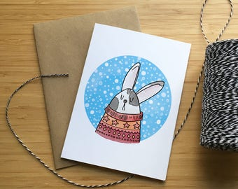 Sweater Bunny Greeting Card/Carte de souhaits Lapin a chandail