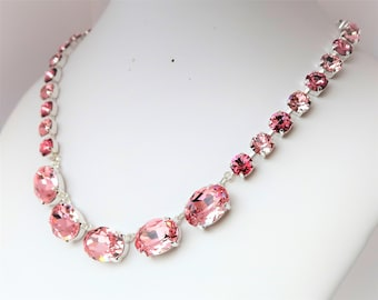 Swarovski Crystal Necklace Anna Wintour Style Necklace Rose Georgian Collet Light Rose Choker Pink Designer Jewellery LynnsGemCreations