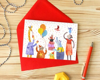Party Animal Greetings Card, Birthday Party Card, Animal Character Card