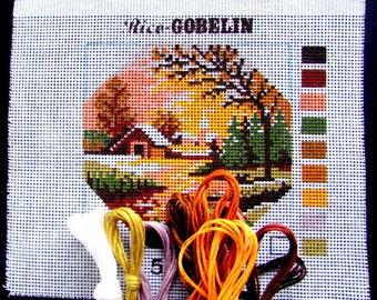 NEEDLEPOINT KITS//Rico Goblin. a Kit of a Scene of a Lakeshore Cottage at Sunset/Cotton Included to Finishe the Project.//Was(15.00)Now!