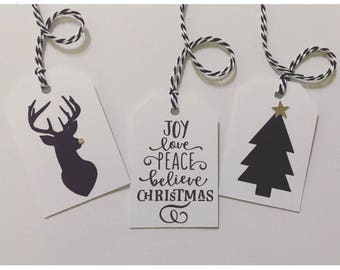 Christmas Gift Tags| Present Tags| Holiday Gift Tags| Bag Gift Tags