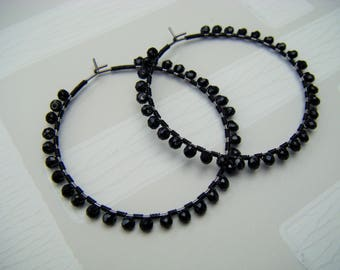 Black swarovski hoops , black crystal hoops , black hoops , wire wrapped hoop earrings , black hoop earrings , uk seller