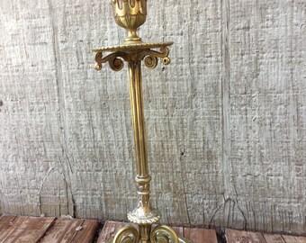 Ornate Nouveau Brass Candle Stick Holder