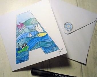 Sailor birthday card etsy bespoke sailing monogram card personalised boats and sea initial card hand painted card bookmarktalkfo Images