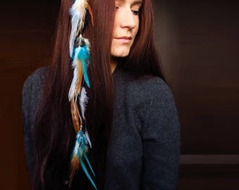 Feather Hair Clip Boho Hair Jewelry extention Native american Indian bohemian