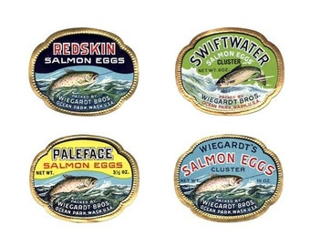 Vintage Wiegardt Salmon Eggs Labels