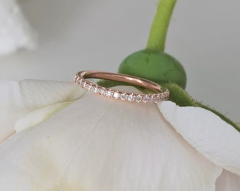 RESERVED Final Payment on Matching Wedding Band to Radiant Cut Pink Sapphire Rose Gold Engagement Ring