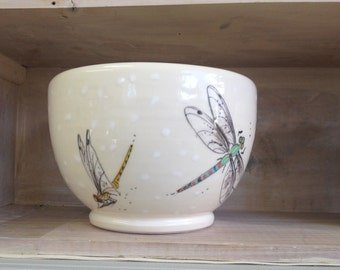 Handmade Dragon Fly Earthenware Bowl