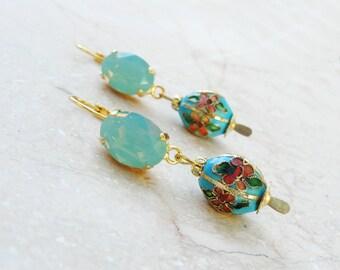 Oriental Mint Earrings - Rhinestones and Metal