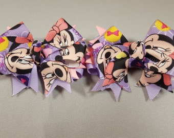 Minnie Mouse Purple Hair-Bow (Pair)
