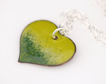 Enamel Puff Heart Necklace - Hand Enameled Heart Pendant, Sterling Silver Necklace