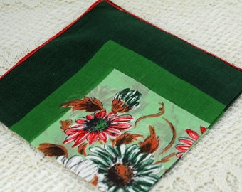 Vintage Hankie  Green With Flowers   E-14