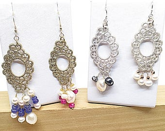 Metal Lace Pearl Earrings in Gold or Silver, Dramatic Long Tanzanite and Pearl Earring, Long Ruby and Pearl Earring, Pearl and Rose Pyrite