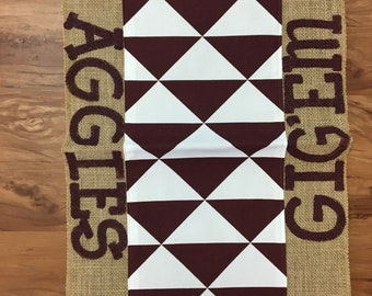 """Maroon and White """"Gig'em Aggies"""" Texas A&M Aggies Table Runner ~ ready to ship"""
