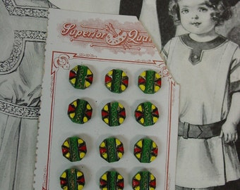 Fabulous Card Antique Glass Buttons, Diminutive Colorful, Doll Clothes Etc.