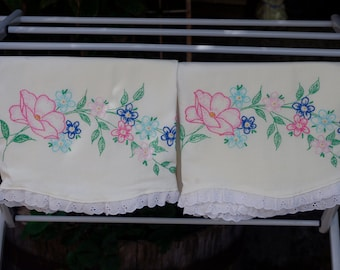Vintage Embroidered Floral Pillowcases Pair