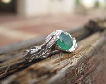 Emerald Engagement Ring, Platinum Emerald Leaves Ring, Platinum Leaf Ring, Leaf Emerald Engagement Ring, Natural Floral Emerald Leaves Ring