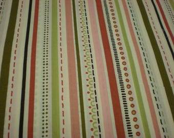 """Quilting cotton  stripe, line and dot green, pink, cream 2 1/8 yard 43"""" wide Fabric"""