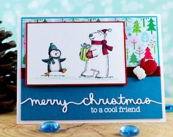 Handmade Christmas Card, Snowman and Penguin Christmas Card, Cute Christmas Card, Hand stamped Christmas Card, Unique Christmas Card