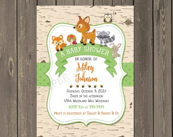 Woodland Baby Shower Invitation, Woodland Animals Baby Shower invite, Birch Baby Shower Invitation, Gender neutral shower, Printed or DIY