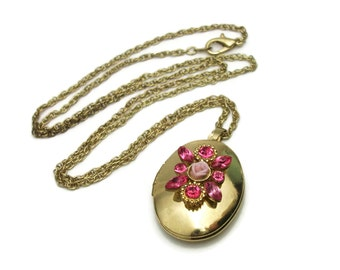 Vintage Gold Tone Pink Rhinestone Locket Pendant Necklace - Porcelain Rose Floral Oval Locket - Long 24 inch Chain