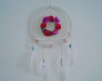 Floral dreamcatcher with Rose Quartz
