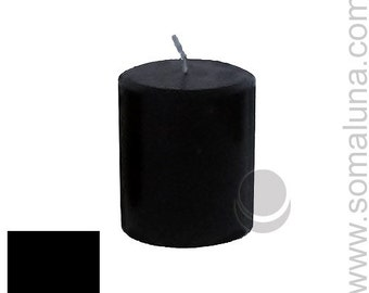 3 x 3.5 Black Classic Hand-poured Unscented Pillar Candles Solid Color